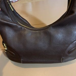 Burberry brown leather handbag 16 x 7